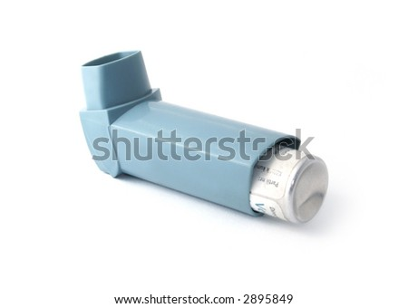 Blue asthma inhaler isolated on white background