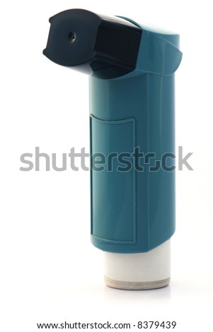 Blue asthma inhaler on white background