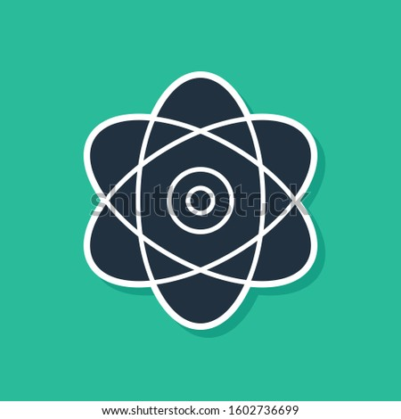 Blue Atom icon isolated on green background. Symbol of science, education, nuclear physics, scientific research. Electrons and protons sign.