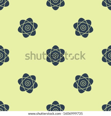 Blue Atom icon isolated seamless pattern on yellow background. Symbol of science, education, nuclear physics, scientific research. Electrons and protons sign.