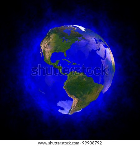 Blue aura of Earth - America Elements of this image furnished by NASA.