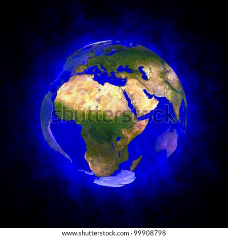 Blue aura of Earth - Europe Africa and Asia Elements of this image furnished by NASA.