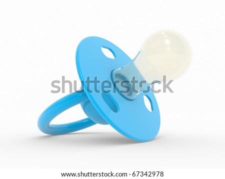 Blue babies dummy silicone . Isolated on white - stock photo