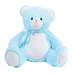 Blue Baby Bear Plush Toy Isolated on White. Front View of Seated Toddler Soft Plushies Seated Toy Bear Sitting on the Floor. 34 Inch Stuffed Teddy Bear. Fabric Stuffed Toys or Stuffies. Cuddle Buddy