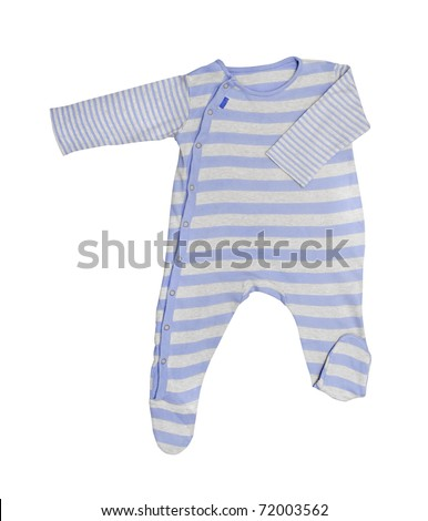 Blue baby clothes isolated on white background