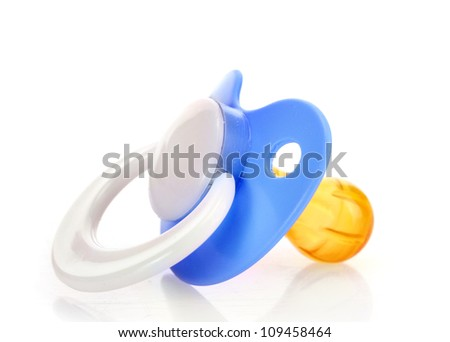 blue baby's pacifier isolated on white background - stock photo