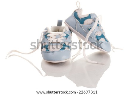 Blue baby shoes with reflection