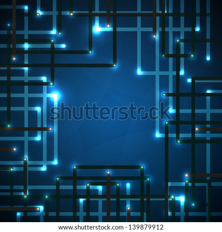 Blue background of digital technologies. Raster version of vector illustration