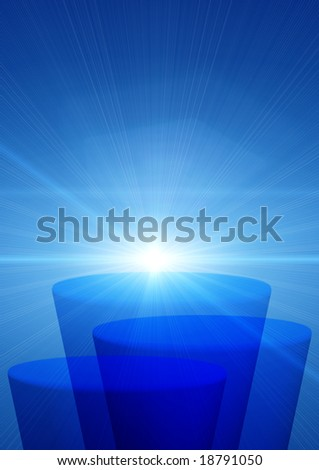 Blue background with an abstract stage and solar beams