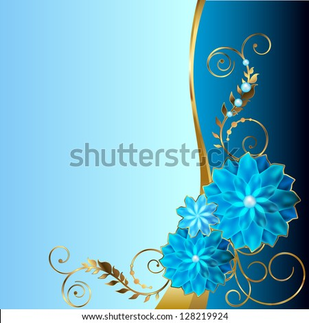 Blue background with angular floral vignette. Raster copy of vector image