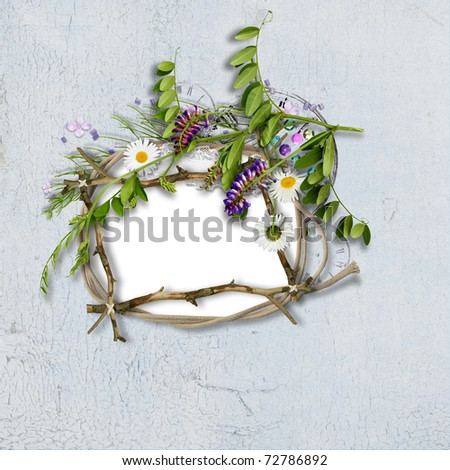 Blue background with beautiful flowers