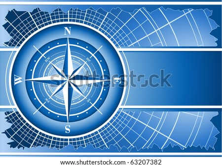 Blue background with compass rose (raster illustration)