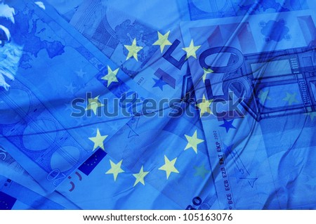 blue background with euro bills and european union flag symbolizing euro zone