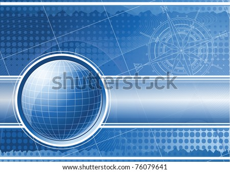 Blue background with globe and compass rose. Raster version of the illustration.