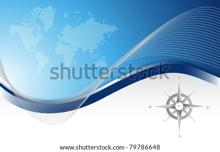 Blue background with map and compass illustration design