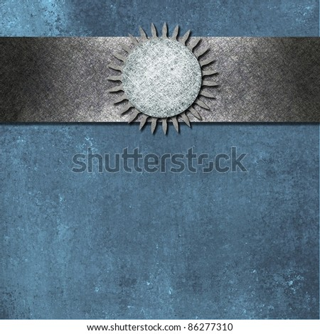 blue background with old vintage grunge texture, silver gray ribbon on top border with abstract sun or star burst pattern and blank circle design element , with copy space