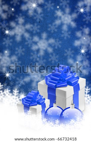 Blue background with snowflakes, baubles and gift