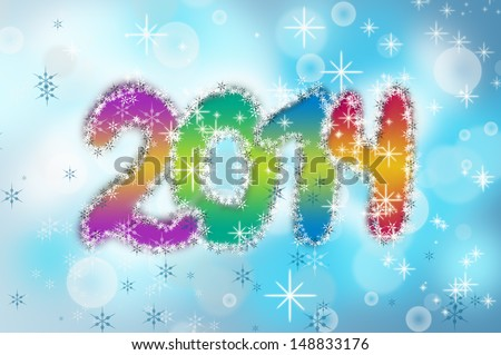 Blue background with symbol of 2014 New Year.