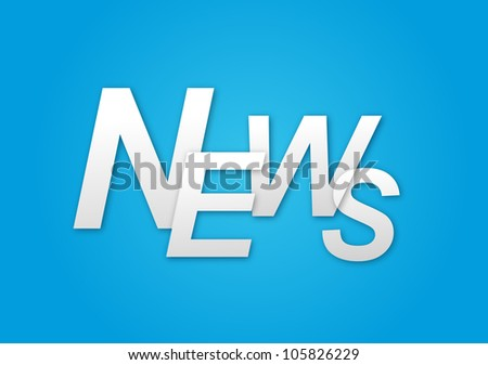 Blue background with the words News