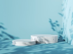 Blue background with white marble podium, 3d render.