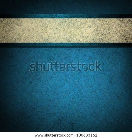 blue background with white parchment ribbon on elegant blue paper stripe has vintage grunge texture background with black border, for baby boy birth announcement or menu on old paper or book cover