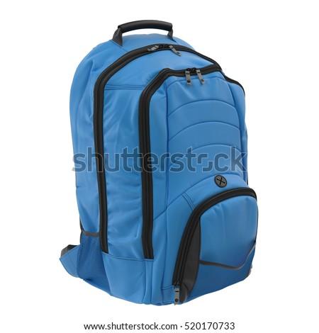 Blue Backpack isolated on white. 3D illustration