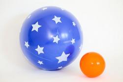 Blue  ball and orange ball isolated on white background - Image