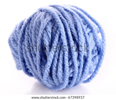 Blue ball of woollen red thread isolated on white