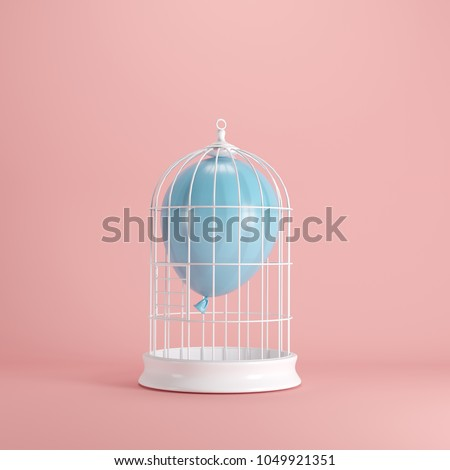 Blue balloon floating in white cage on pastel pink background. minimal idea concept. #1049921351