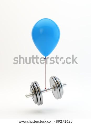 Blue balloon lifting a heavy dumbbell
