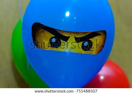 Stock Photo Blue balloon ninja with eyes