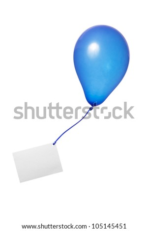blue balloon with ribbon and greeting card