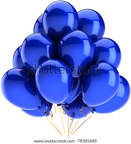 Blue balloons birthday party balloon holiday decoration cyan. Anniversary graduation celebrate greeting card concept. Happy joy fun positive abstract. 3d render isolated on white background