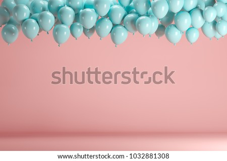 Blue balloons floating in pink pastel background room studio. minimal idea creative concept. #1032881308
