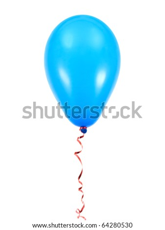 Blue balloons isolated against a white background