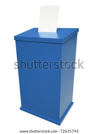 Blue ballot box. 3D render.