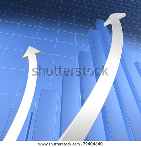Blue Bar Chart with White Arrows