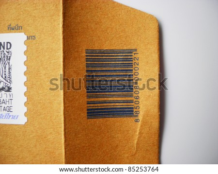 Blue bar code on envelope paper mail post