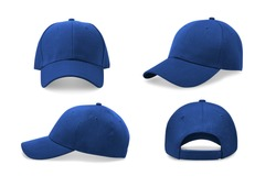 Blue baseball cap in four different angles views. Mock up.