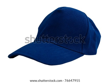 Blue baseball cap isolated with clipping path. No shadows. Studio work.