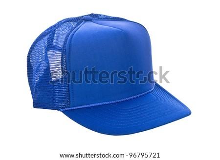 Blue baseball hat isolated on white