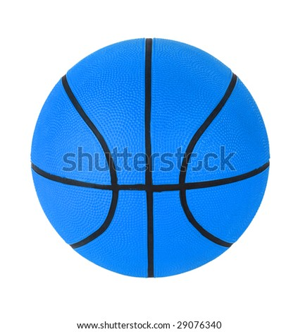 Blue basketball on a white clear background