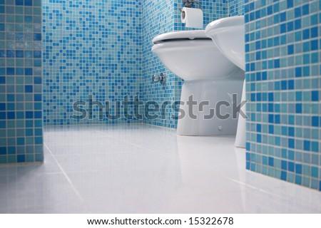 Blue bathroom closeup
