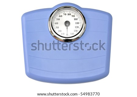 Blue bathroom scale isolated in white