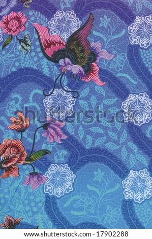stock photo : Blue Batik Sarong with butterfly and floral motif