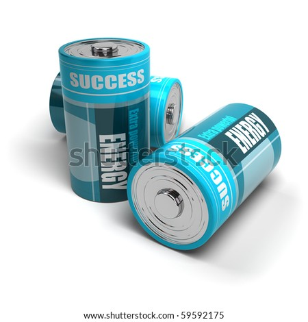 blue batteries energy and success for motivation, battery is isolated on a white background