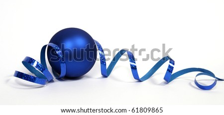 Blue bauble with the blue ribbon on the white background
