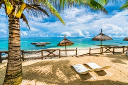 Blue Bay, public beach at Mauritius island, Africa