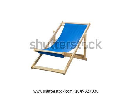 Blue Beach chair isolated  white background