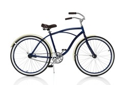 Blue Beach cruiser isolated on white, side view